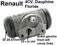 4CV/Dauphine/Floride, wheel brake cylinder in front on the left. Suitable for Renault 4CV, starting from year of construction 03/1956. Renault Dauphine + Floride. Panhard. Piston diameter: 28.57 mm. Mounting board bore: 36 mm. Brake line connector: 3/8 x 24 UNF. Length over everything: 71 mm. - 80029 - Der Franzose