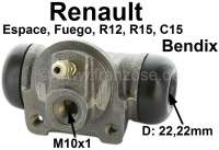 Wheel brake cylinder rear (system Bendix), left or on the right suitable. For Citroen C15. Renault Espace I, Fuego, R12, R18. Piston diameter: 22,2mm. Mounting board bore: 36mm. Brake line connector: 10x1 mm. Length over everything: 70mm. - 83177 - Der Franzose