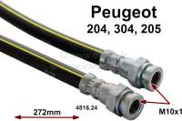 brake hose Peugeot 204+304 rear 09/75>10/77, length 272mm, female thread 2xM10. Made in Europe. - 74015 - Der Franzose
