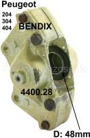 P 204/304/404, brake caliper on the right. System Bendix (2 pistons, 48mm diameter). Suitable for Peugeot 204, 304 + 404. In the exchange, plus 50 Euro Old part deposit. Or. No. 4400.28 - 74127 - Der Franzose