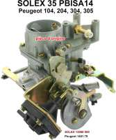 P 104/204/304/305, carburetor Solex 35PBISA14 (no reproduction). Suitable for Peugeot 104, 205, 304, 305. Talbot Solara. Original SOLEX carburetor, no reproduction. Or. No. Solex: 13068 000. Or. No. Peugeot: 1401.79 - 71389 - Der Franzose