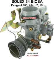 P 403/404, carburetor Solex 34BICSA (no reproduction). Carburetor diameter: 34mm. Suitable for Peugeot 403, 404, J7, J9. Original SOLEX carburetor, no reproduction. Or. No. Solex: 13555 000. Or. No. Peugeot: 1401.93 - 71394 - Der Franzose