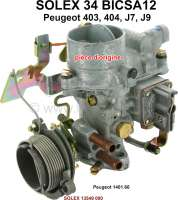 P 403/404, carburetor Solex 34BICSA12 (no reproduction). Carburetor diameter: 34mm. Suitable for Peugeot 403, 404, J7, J9. Original SOLEX carburetor, no reproduction. Or. No. Solex: 13549 000. Or. No. Peugeot: 1401.66 - 71393 - Der Franzose