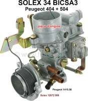 P 404/504, carburetor Solex 34BICSA3 (no reproduction). Carburetor diameter: 34mm. Suitable for Peugeot 404 (U6S, starting from series of 7.160.001 + 7.162.001). Peugeot 504 to salon 1971 (starting from series of A93: 1.120.401). Carburetor index: 51. Original SOLEX carburetor, no reproduction. Or. No. Solex: 12572 000. Or. No. Peugeot: 1415.56 - 71388 - Der Franzose