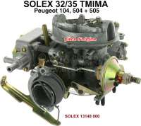 P 504/505, carburetor Solex 32/35TMIMA double carburetor (no reproduction). Suitable for Peugeot 504 GL, GR, SR + Peugeot 505 GL, GR, SR. Peugeot 104 ZS, with engine XW35. Original SOLEX carburetor, no reproduction. Or. No. Solex: 13148 000 - 71390 - Der Franzose