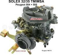 P 504/505, carburetor Solex 32/35TMIMSA double carburetor (no reproduction). Suitable for Peugeot 504 GR, SR + Peugeot 505 GR, SR. For engine XN1 with reduced compression (under compression 8.8). Installed starting from year 1983. Original SOLEX carburetor, no reproduction. Or. No. Solex: 13152 000 + Peugeot: 1400.16   71391   Der Franzose - www.franzose.de