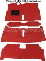P 205, carpet set. Material: Velour red. Suitable for Peugeot 205 GTI (sedan). - 78672 - Der Franzose