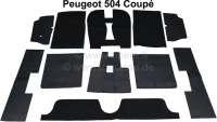 Carpet set of Velour black, for Peugeot 504 Coupe. 11 pieces. - 78675 - Der Franzose