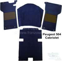 Carpet set of Velour dark-blue, for Peugeot 404 Coupe + Cabrio. 4 pieces, foam material lamination. The 404 Cabrio + Coupe have only in front carpet. Rear original is always a form rubber mat Installed! Only suitable for steering columm gear shift! - 78045 - Der Franzose
