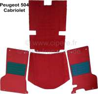 Carpet set of Velour wine-red, for Peugeot 404 Coupe + Cabrio. 4 pieces, foam material lamination. The 404 Cabrio + Coupe have only in front carpet. Rear original is always a form rubber mat Installed! Only suitable for steering columm gear shift! - 78044 - Der Franzose