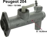 P 204, clutch master cylinders. Piston diameter: 19,05mm. Suitable for Peugeot 204, of year of construction 1965 to 10/1968. Made in France - 72655 - Der Franzose