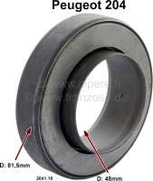 P 204, clutch release sleeve Peugeot 204. For clutch Ferodo 180 DP (180mm). Outside diameter: 81.5mm. Inside diameter: 48mm. Overall height of the bearing: 23mm. Overall height over everything: 33mm. Or. No. 2041.18 - 72204 - Der Franzose