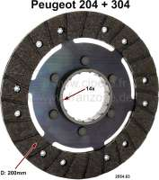 P 204/304, clutch disk without torsion springs. Suitable for Peugeot 204 + 304. Diameter: 200mm. Teeth: 14. Or. No. 2054.63 - 72188 - Der Franzose