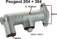 P 204/304, clutch master cylinder. Suitable for Peugeot 204 + 304, all model`s starting from year of construction 10/1968. Piston diameter: 19,05mm. Connecting thread: M12x1. Fixing holes distance: 50mm. Or. No. 2095.09 + 2095.12. Made in Europe. - 72228 - Der Franzose