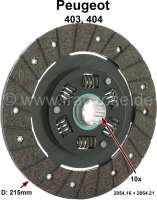 P 403/404, clutch disk. Suitable for Peugeot 403, of year of construction 1956 to 1964. Peugeot 404, of year of construction 1960 to 1967. Diameter: 215mm, 30x25x10. Teeth: 10. Lining thickness: 7,9mm. Or. No. 2054,16 + 2054.21. Note: adjust the clutch free travel! Peugeot work instruction 2/0101 0102 + 2/0201 + 2/0401 > 0405. - 72191 - Der Franzose