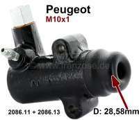P 404/504, clutch taking cylinder. Piston diameter: 28,58mm. Connection thread: M10x1. Mounting holes center to center: 48mm. Length over everything (without collar): 90mm. Suitable for Peugeot 404 to Ident: CH1012372. Peugeot 504 sedan + Cabrio, of year of construction 1/1969 to 1974. Peugeot 304 + J7. Talbot Murena, of year of construction 8/1981 to 1/1985. Or. No. 2086.11 + 2086.13. Made in Europe. - 72212 - Der Franzose