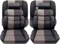 P 205, coverings set (2x seat in front, 1x seat bench rear). Color: Leather black with material (Tissue Ramier). Suitable for Peugeot 205 GTI - 78106 - Der Franzose
