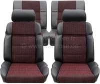 P 205, coverings set (2x seat in front, 1x seat bench rear). Color: Leather black with material (Tissue Quartet). Suitable for Peugeot 205 GTI - 78107 - Der Franzose