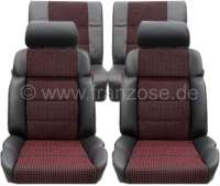 P 205, coverings set (2x seat in front, 1x seat bench rear). Color: Leather black with material (Tissue Quartet). Suitable for Peugeot 205 CTI - 78108 - Der Franzose