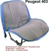P 403, coverings (2x seat in front, 1x seat bench rear with central armrest). Color: Material grey with blue (tissu gris écorce/simili bleu médit). Suitable for Peugeot 403 sedan. - 78668 - Der Franzose