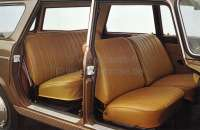 P 404, coverings (2x seat in front, 1x seat bench rear). Color: Leather light brown (cognac). Suitable for Peugeot 404 sedan (berline). -1 - 78292 - Der Franzose