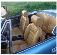 P 504C, coverings (2x seat in front, 1x seat bench rear). Color: Vinyl beige (Camel). Suitable for Peugeot 504 Cabrio. - 78086 - Der Franzose