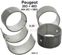 Connecting rod bearing (complete set) for fuel engines with 3 crankshaft bearings. Dimension: 0.30 oversize. Diameter crankshaft: 44,675 to 44,691mm. Wide one: 27mm. Suitable for Peugeot 203 (all engines). Peugeot 403 (all petrols). Peugeot 404 first serie (8CV), engine XC + XB2 (404 U6). Or. No. 0606.15 - 71186 - Der Franzose