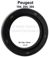 P 104/204/304, shaft seal differential on the left. Suitable for Peugeot 104, 204, 304, 305, 205. Suitable for all fuel + Diesel engines. Dimension:: 40 x 58 x 10mm. Or. No. 3121.09 - 71062 - Der Franzose