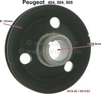 P 404/504/505, belt pulley on the crankshaft. Suitable for Peugeot 404, 504, 505. Or. No. 0515,46 + 0515E2. Diameter: 13,10cm. Outside diameter of the scroll seal: 45,35mm. - 71064 - Der Franzose