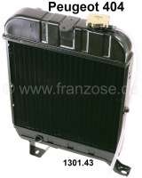 P 404, radiator (new part). Suitable for Peugeot 404 petrol, all models. Dimension: 330 x 358 x 38mm. Or. No. 1301.43 - 72078 - Der Franzose