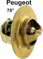 Thermostat 75° (without seal). Suitable for Peugeot 504 petrol, 505, J5. Mounting in the case. Engine: XC7, XM/XM7, KF5+6, XN1, XN2, XNA - 72044 - Der Franzose
