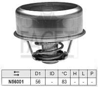 Thermostat 83°. Suitable for Renault R20 1,6. Trafic 1,6L. Peugeot 505 2,3TD. 604 2,3TD. Talbot Tagora 2.3 Turbo Diesel. Or. No. 7701348139 - 82622 - Der Franzose