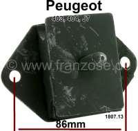 P 404/403/J7, engine suspension in front. Suitable for Peugeot 404, Peugeot 403, Peugeot J7. Fuel engines. Hole spacing: 86 mm. Dimension rubber block: 70x50mm. Height: 30mm. Or. No. 1807.13 - 71087 - Der Franzose