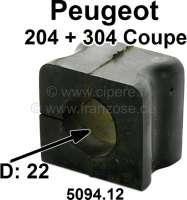 P 204/304, anti roll bar (torsion bar) fixture (material: Rubber). For anti roll bar diameter: 22mm. Suitable for Peugeot 204 Coupe + 304 Coupe, starting from year of construction 03/1972. Or. No. 5094.12. - 73628 - Der Franzose