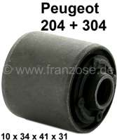 P 204/304, bonded-rubber bushing A-arm. Peugeot 204 + 304.  Measurements: Inside 10mm, outside 34mm. Long: Inside 41mm, outside 31mm. Or No. 352311 - 73127 - Der Franzose