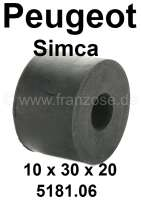 Rubber mounting for the ouple rod. Suitable for Peugeot 304, 504, 505, 604. Simca 1307/1308/Horizon. dimension: Inside diameter 10mm. Outside diameter 30mm diameter. Height of 20mm. Or. No. 5181.06 + 5093.03 - 73408 - Der Franzose