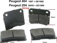 brake blocks front Peugeot 204, 404, system Girling,  204 08/65>08/66 (1 set = 4 pieces) 404 67>09/68 Thick 15,5mm, W x L = 81x66mm - 74075 - Der Franzose