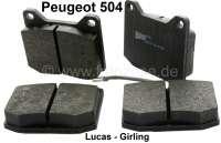 brake blocks front Peugeot 504, system Lucas, wear indicator, breadth 78.4 / height 64.5 / width 17mm - 74145 - Der Franzose