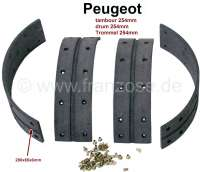 Brake cheek lining for Peugeot, to rivet on, width: 65mm, drum: 254mm, incl. rivets. 4x 280x65x6mm. - 74235 - Der Franzose
