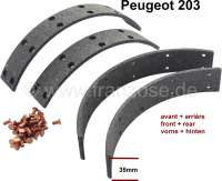 P 203, brake shoes linings, to rivet. For drum diameters: 254mm. Lining-wide: 35mm. Suitable for Peugeot 203 front axle + rear axle. | 74646 | Der Franzose - www.franzose.de