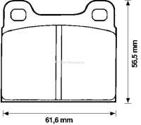 Brake pads front for Talbot Horizon/Bagheera/Rancho, system ATE. Breadth: 61,7mm, height: 56,6mm, thickness: 15mm. Made in Europe. - 74455 - Der Franzose
