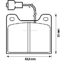 Brake pads for Talbot Horizon/Simca 1100, System Girling. Breadth: 63,5mm, height: 55,2mm, thickness: 14,4mm. - 74452 - Der Franzose
