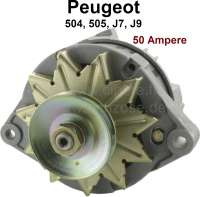 P 504/505/J7/J9, generator. Suitable for Peugeot J7, J9, 505, 504. (Petrols with carburetor). 50A. Single swivel arm. Direction of rotation in in the clockwise direction. With intergrierten control device. - 72745 - Der Franzose