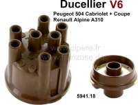 Ducellier, V6 distributor cap + Distribution arm. Suitable for Peugeot 504 V6 (Cabrio + Coupe). Peugeot 604 V6. Renault Alpine A310. Renault R30. The distributor cap has 8 connection. Or. No. 5941.18 - 72327 - Der Franzose