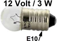 Bulb 12 V, 3 Watt, base E10 (screw threads). Suitable for Peugeot fender sidelights. - 75339 - Der Franzose
