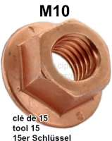 M10, copper nut (wrench 15mm) for connection Y-pipe (elbow pipe) at the exhaust elbow. Suitable for Peugeot 204, 304, 404, 504, 505, 604, J7 - 71348 - Der Franzose