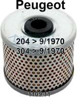 Oil filter for oil filter cartridge. Suitable for Peugeot 204, to year of construction 09/1970 + Peugeot 304, to year of construction 09/1970. Diameter: 78mm. Height: 72mm. Or. No. 1109.11 - 71121 - Der Franzose