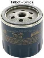 Oil filter Simca Talbot. Threaded connection: M16x1,5. Outside diameter: 71mm. Height: 73mm. Suitable for 1307-1510 (86 - 90HP, 01.1980-06.1982). HORIZON (58,-90HP, 01.1979-06.1986). Murena (90-140HP, 09.1980-01.1985). RANCHO (80HP, 01.1977-07.1984). SIMCA 1000 (39 - 86HP, 10.1976-07.1978). SIMCA 1100 (50 - 82HP, 10.1968-01.1980). SOLARA (69 - 90HP, 09.1981-07.1986). TAGORA (116HP, 06.1980-12.1983). - 71403 - Der Franzose