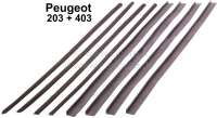 P 203, window channel seals (inside and outside), for all 4 doors. Suitable for Peugeot 203 sedan. The seals fit also at Peugeot 403, but they must be cut. - 77784 - Der Franzose