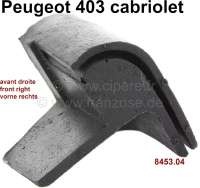 P 403, rubber seal corner (rubber cap), on the right in front at the hood. Suitable for Peugeot 403 Cabriolet. Or. No. 8453.04 - 78826 - Der Franzose